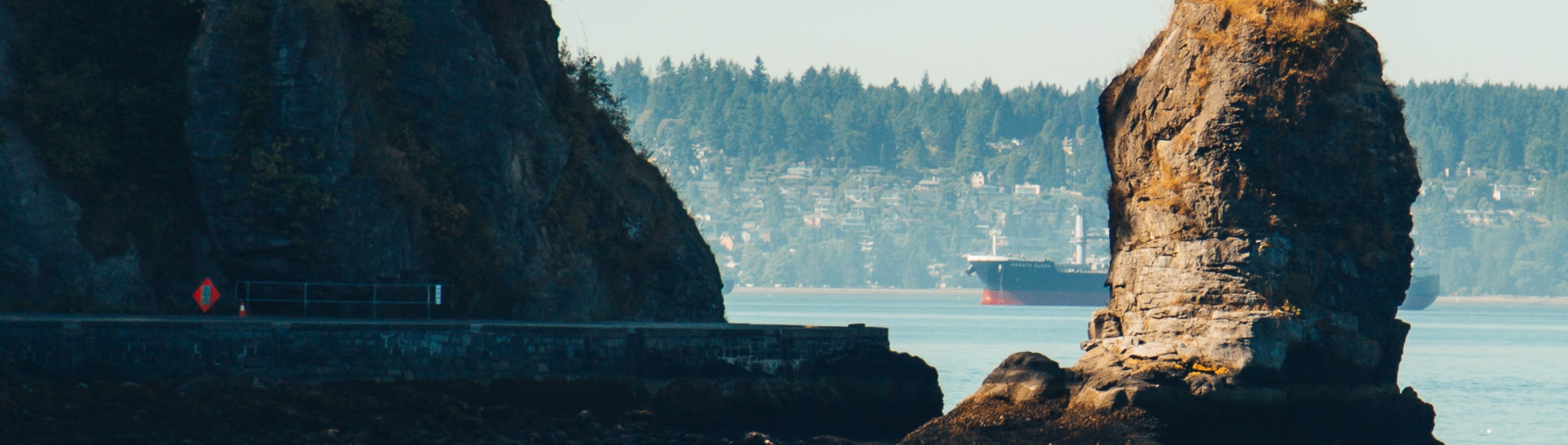 Cargo ship by the Vancouver sea wall